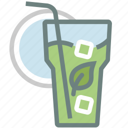 beverage, cold drink, drink, glass, ice, matcha, tea icon