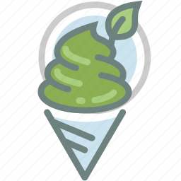 cone, dessert, green tea, ice cream, leaf, leaves, marcha icon