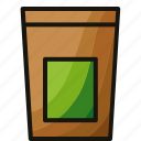 envelope, green, matcha, powder, tea icon