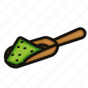 green, matcha, powder, tea icon