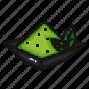 green, leaf, matcha, nature, powder, tea icon