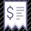 inovice, money, receipt icon