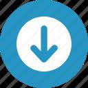 arrow, down, round, symbol icon