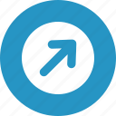 arrow, button, right up, round icon