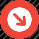 arrow, button, down right, round icon
