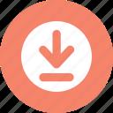 button, down arrow, download, round icon
