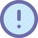 alert, button, exclamation, round icon