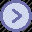 arrow, button, right, round icon