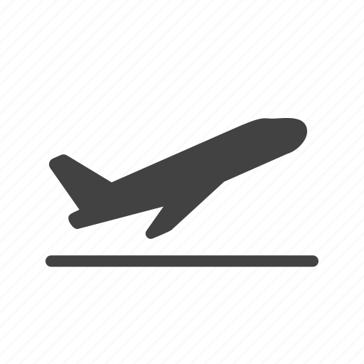 airplane, airport, flight, off, plane, runway, transport icon