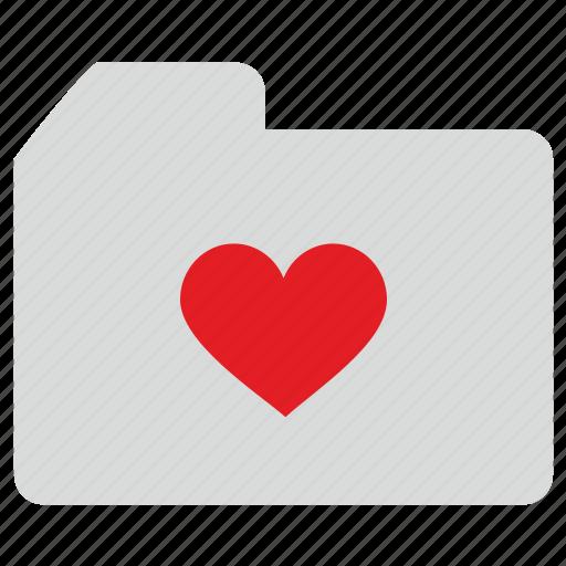 folder, heart, like, love, romantic icon