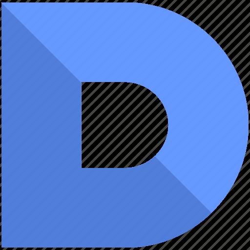 alphabet, d, design, latin, letter, material icon