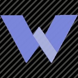 alphabet, design, latin, letter, material, w icon