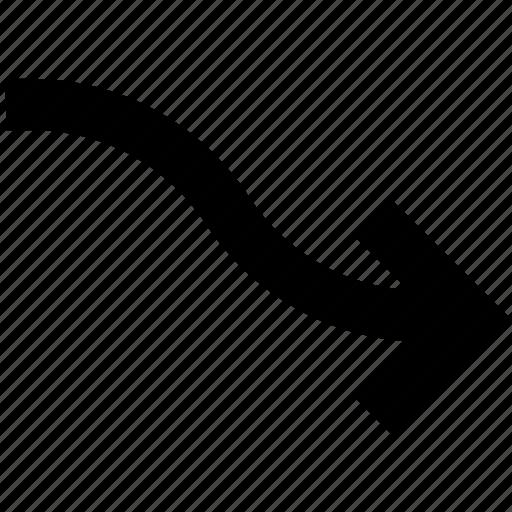 arrow, diagram, down, increase, right, right arrow icon