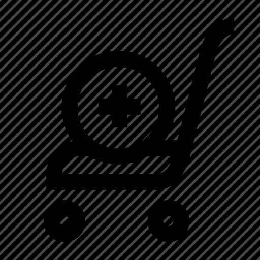 cart, market, plus, shop, track icon
