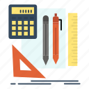 book, calculator, pen, stationary icon