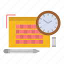file, focus, pen, time icon