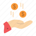 charity, currency, dollar, hand, money icon
