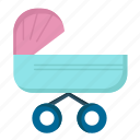 baby, kids, push, stroller, trolly icon