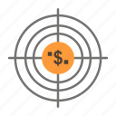 aim, business, cash, financial, funds, hunting, money, target icon