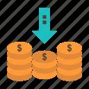 arrow, cash, coins, down, money icon