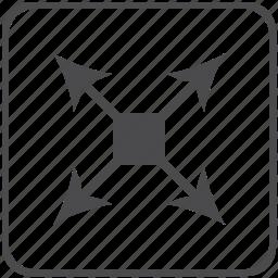arrows, diagonal, navigation icon