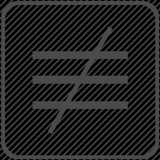 inequivalence, math, mathematical, sign icon