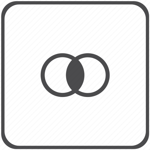 circle, geometry, intersection icon