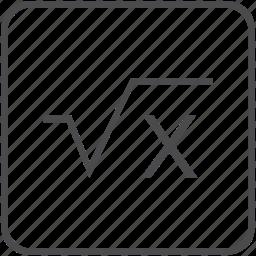 calculator, education, math, root, square icon