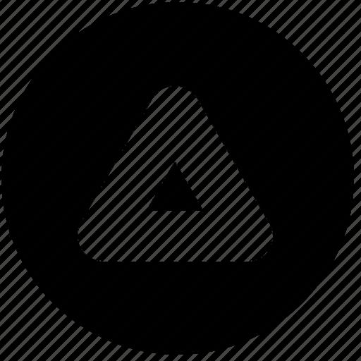 arrow, circle, round, shapes, signs, symbols, triangle icon