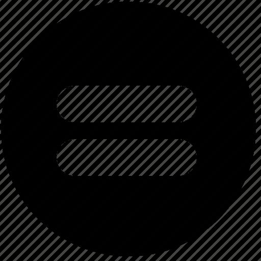 calculator, circle, equal, equal sign, math, signs, symbols icon