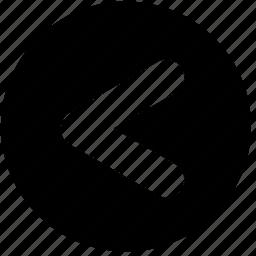 arrow, circle, less than, math, round, signs, symbols icon