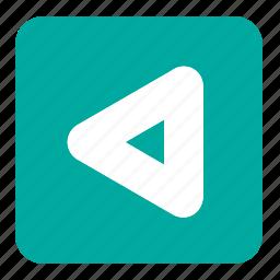 arrow, back button, blue, signs, square, symbols, triangle icon