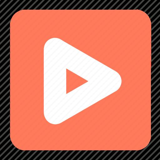 arrow, orange, play, play button, shapes, symbols, triangle icon