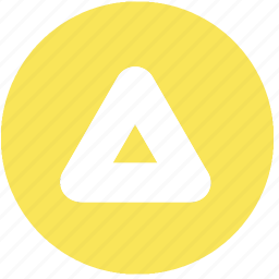 arrow, circle, shapes, signs, symbols, triangle, yellow icon