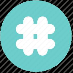 blue, hashtag, math, shapes, signs, symbols, tag icon