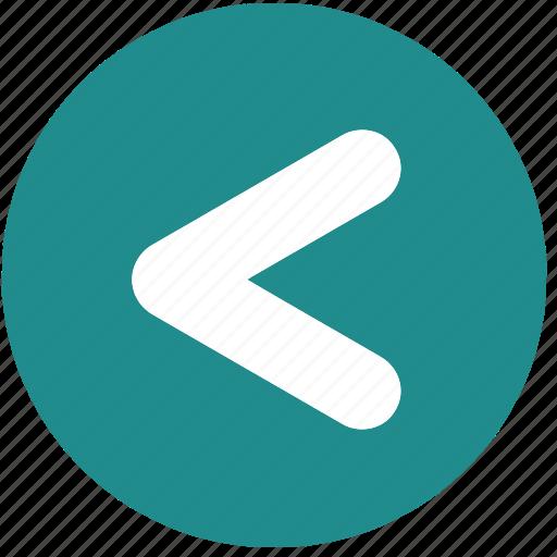 arrow, blue, circle, less than, pointer, signs, symbols icon