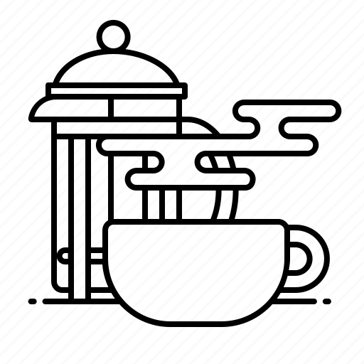 cafe, coffee, espresso, french press, latte icon