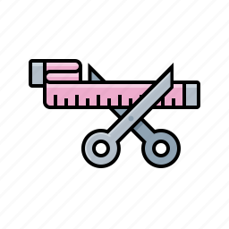measurements, scissors, tape measure, weight loss icon