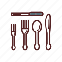 cutlery, fork, knife, meal, spoon icon