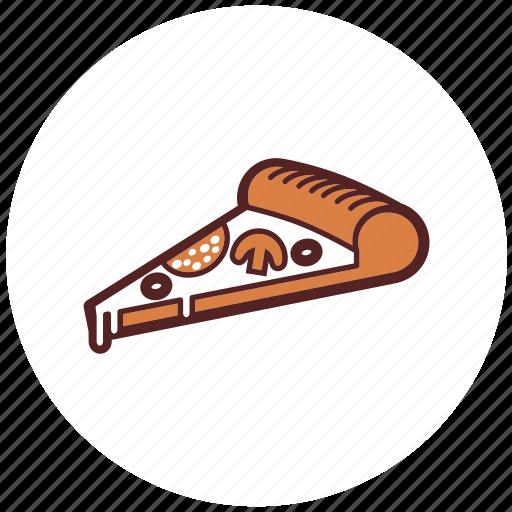 cheese, fast food, italian, meal, mushroom, pizza, salami icon