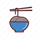 asian, bowl, food, food sticks, meal, noodles, thai icon
