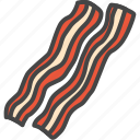bacon, filled, food, meat, outline icon