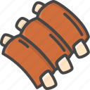 filled, food, meat, outline, ribs icon