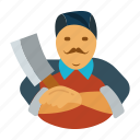 butcher, butchery, cutter, man, meat, slaughterman icon