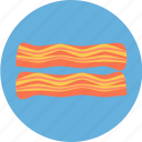 bacon, food, fried, fried bacon, meat, pork icon
