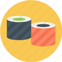 black and red sushi, japanese food, roll, sushi, sushi roll icon