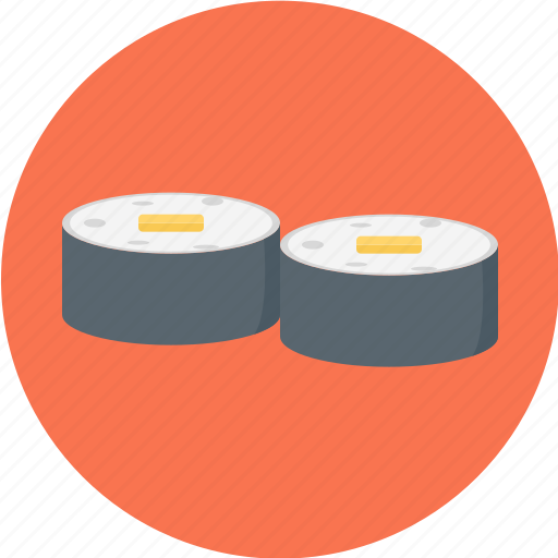 black roll, food, japanese food, maki, sushi, sushi roll icon