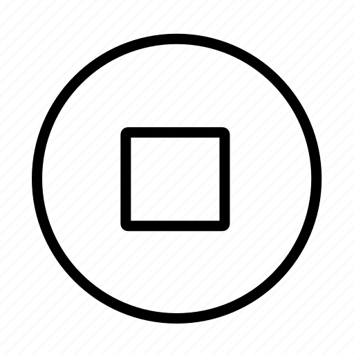 circle, end, media, stop, stop button icon