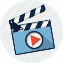 cinema, clapboard, clapper, clapperboard, film, movie, video icon
