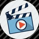 clapper, cinema, clapboard, clapperboard, film, movie, video icon